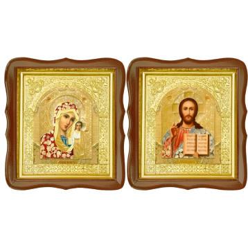 Венчальная пара Икона Спасителя и Казанской Божьей Матери 17-ФСВП-3