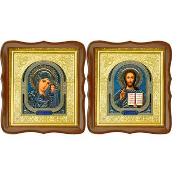 Венчальная пара Икона Спасителя и Казанской Божьей Матери 17-ФСВП-4