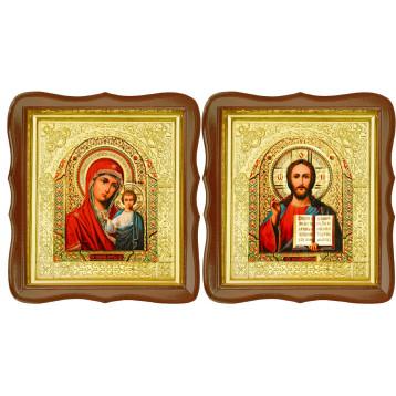 Венчальная пара Икона Спасителя и Казанской Божьей Матери 17-ФСВП-5