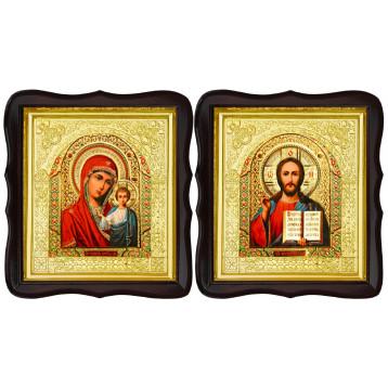 Венчальная пара Икона Спасителя и Казанской Божьей Матери 17-ФТВП-5