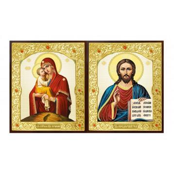Венчальная пара Икона Спасителя и Почаевская Божия Матерь 22-ДВП-10