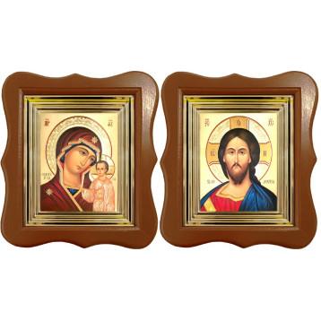 Венчальная пара Икона Спасителя и Казанской Божьей Матери 27-ФВП-7