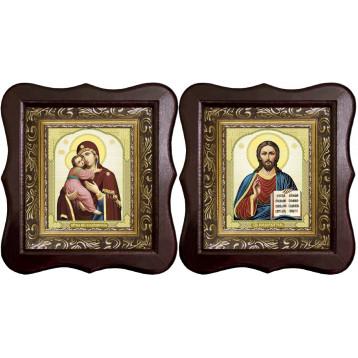 Венчальная пара Икона Спасителя и Владимирская Божия Матерь 1012-ФБВП-12