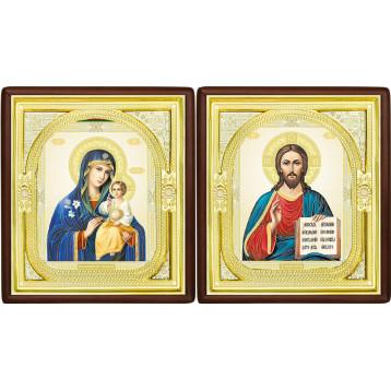 Венчальная пара Икона Спасителя и Неувядаемый цвет Божия Матерь 1-ВП-11