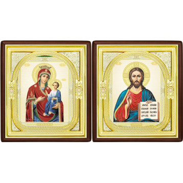 Венчальная пара Икона Спасителя и Иверская Божия Матерь 1-ВП-9