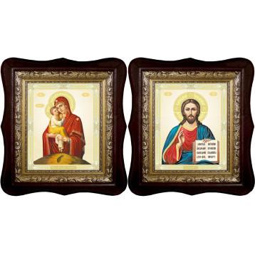 Венчальная пара Икона Спасителя и Почаевская Божия Матерь 1518-ФБВП-10
