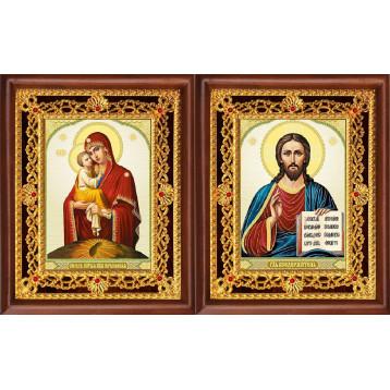 Венчальная пара Икона Спасителя и Почаевская Божия Матерь 39-ВП-10