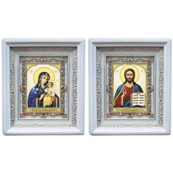 Венчальная пара Икона Спасителя и Неувядаемый цвет Божия Матерь 38-БВП-11