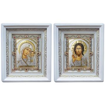 Венчальная пара Икона Спасителя и Казанской Божьей Матери 38-БВП-16