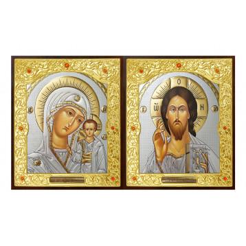 Венчальная пара Икона Спасителя и Казанской Божьей Матери 22-ДВП-16
