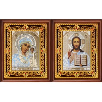 Венчальная пара Икона Спасителя и Казанской Божьей Матери 39-ВП-1