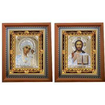 Венчальная пара Икона Спасителя и Казанской Божьей Матери 35-ПВП-1