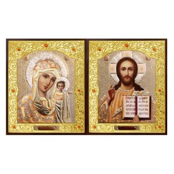 Венчальная пара Икона Спасителя и Казанской Божьей Матери 22-ДВП-2
