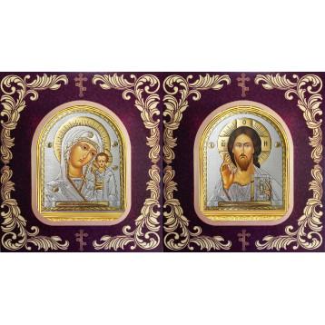 Венчальная пара Икона Спасителя и Казанской Божьей Матери 12-АВП-20
