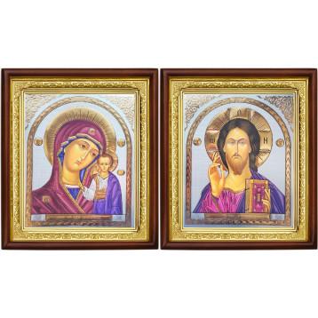 Венчальная пара Икона Спасителя и Казанской Божьей Матери 18-ВП-21