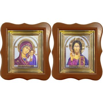 Венчальная пара Икона Спасителя и Казанской Божьей Матери 27-ФВП-21