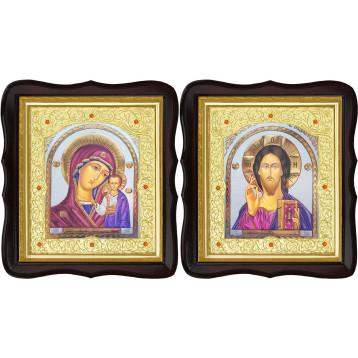 Венчальная пара Икона Спасителя и Казанской Божьей Матери 20-ФТВП-21