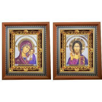 Венчальная пара Икона Спасителя и Казанской Божьей Матери 35-ПВП-21