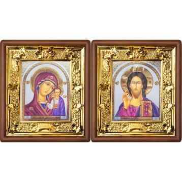 Венчальная пара Икона Спасителя и Казанской Божьей Матери 31-ВП-21