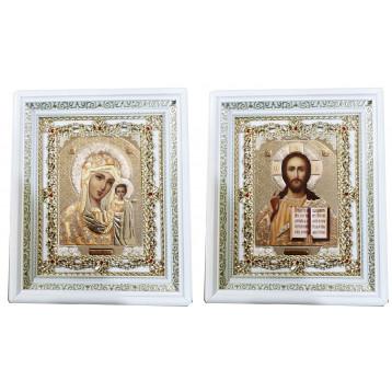 Венчальная пара Икона Спасителя и Казанской Божьей Матери 35-БВП-2