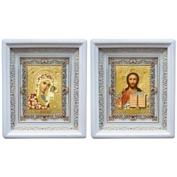 Венчальная пара Икона Спасителя и Казанской Божьей Матери 38-БВП-3