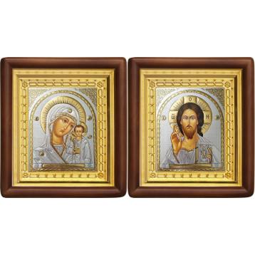 Венчальная пара Икона Спасителя и Казанской Божьей Матери 4-ВП-16