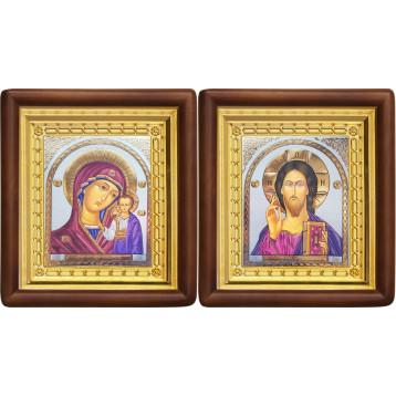Венчальная пара Икона Спасителя и Казанской Божьей Матери 4-ВП-17
