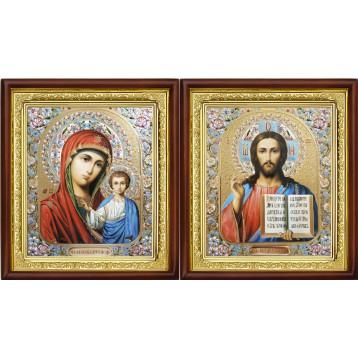 Венчальная пара Икона Спасителя и Казанской Божьей Матери 23-ВП-5