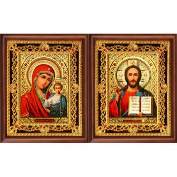 Венчальная пара Икона Спасителя и Казанской Божьей Матери 39-ВП-5
