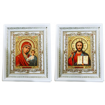Венчальная пара Икона Спасителя и Казанской Божьей Матери 35-БВП-5