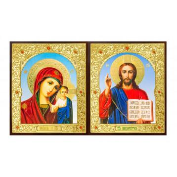 Венчальная пара Икона Спасителя и Казанской Божьей Матери 22-ДПВ-6