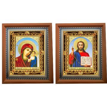 Венчальная пара Икона Спасителя и Казанской Божьей Матери 35-ПВП-6