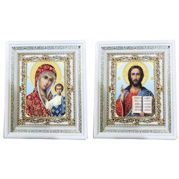 Венчальная пара Икона Спасителя и Казанской Божьей Матери 35-БВП-8