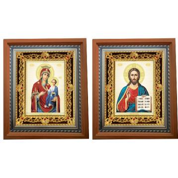 Венчальная пара Икона Спасителя и Иверская Божия Матерь 35-ПВП-9