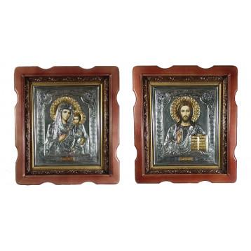 Венчальная пара Икона Спасителя и Иверской Божьей Матери 2732-РВП-5