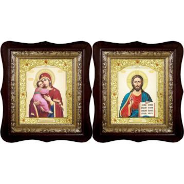Венчальная пара Икона Спасителя и Владимирская Божия Матерь 21-1518-ФБВП-12
