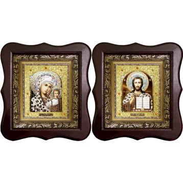 Венчальная пара Икона Спасителя и Казанской Божьей Матери 22-1012-ФБВП-15