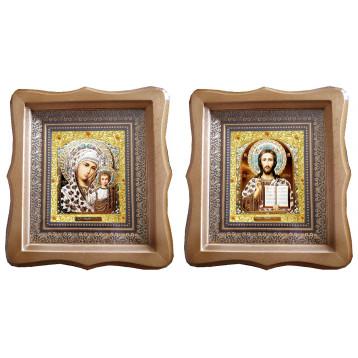 Венчальная пара Икона Спасителя и Казанской Божьей Матери 21-ФБВП-17