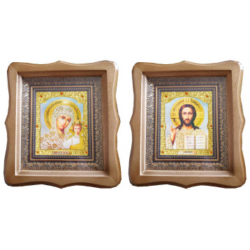 Венчальная пара Икона Спасителя и Казанской Божьей Матери 21-ФБВП-19