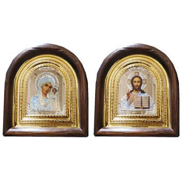 Венчальная пара Икона Спасителя и Казанской Божьей Матери 11-АВП-1
