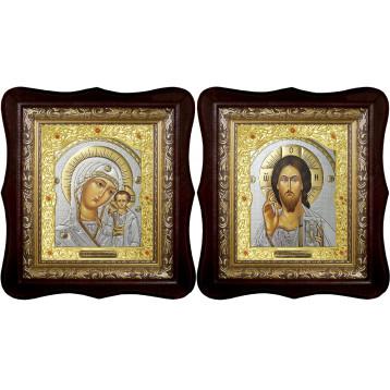 Венчальная пара Икона Спасителя и Казанской Божьей Матери 21-1518-ФБВП-20