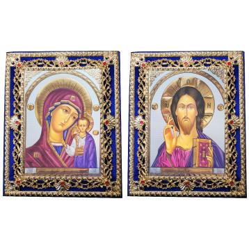 Венчальная пара Икона Спасителя и Казанской Божьей Матери Б-35-ДВП-21