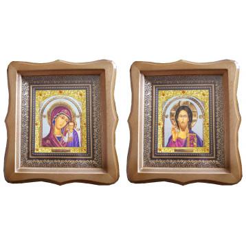 Венчальная пара Икона Спасителя и Казанской Божьей Матери 21-ФБВП-21