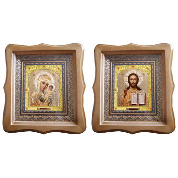 Венчальная пара Икона Спасителя и Казанской Божьей Матери 22-ФБВП-2