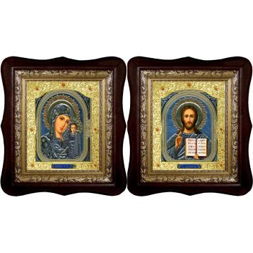 Венчальная пара Икона Спасителя и Казанской Божьей Матери 21-1518-ФБВП-4