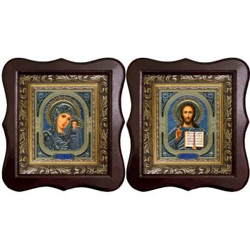 Венчальная пара Икона Спасителя и Казанской Божьей Матери 1012-ФБВП-4