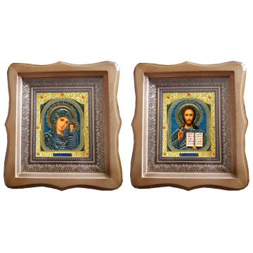 Венчальная пара Икона Спасителя и Казанской Божьей Матери 21-ФБВП-4