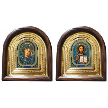 Венчальная пара Икона Спасителя и Казанской Божьей Матери 11-АВП-4