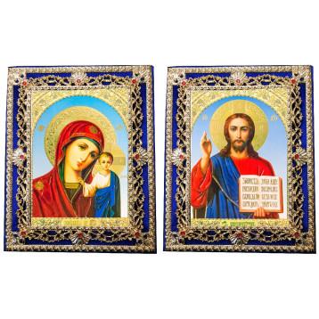 Венчальная пара Икона Спасителя и Казанской Божьей Матери Б-35-ДПВ-6