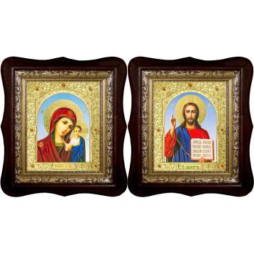 Венчальная пара Икона Спасителя и Казанской Божьей Матери 21-1518-ФБВП-6